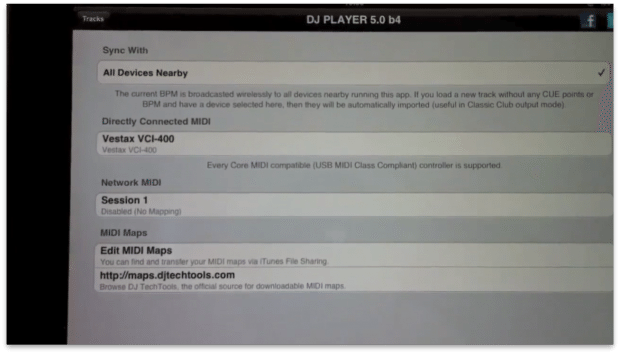 DJ Player MIDI mapping iOS