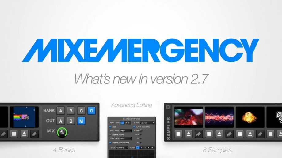 MixEmergency 2.7 adds sample player and Hap video
