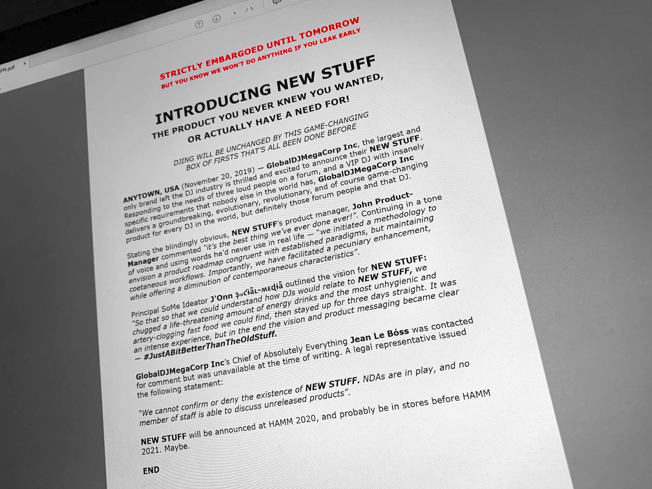Made up press release DJWORX